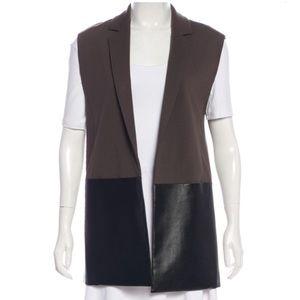 Faux leather combo vest